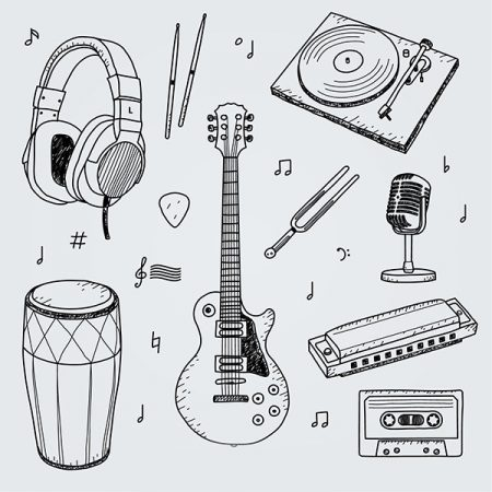 Collection of hand drawn elements for a music studio Free Vector www.Modernera.ir  450x450 - وکتور طراحی دستی آلات موسیقی