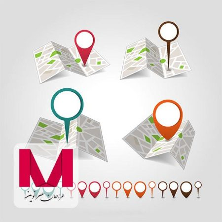 Geolocation map pin set www.Modernera.ir  450x450 - وکتور نقشه و لوکیشن