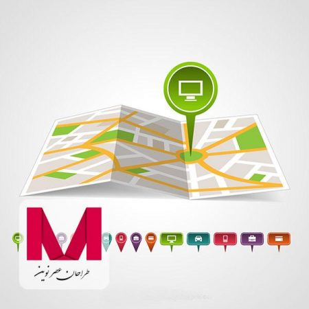 Green map pin in a map www.Modernera.ir  450x450 - وکتور نقشه و پین