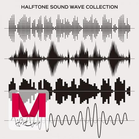 Halftone sound wave set Free Vector www.Modernera.ir  450x450 - وکتور امواج صوتی