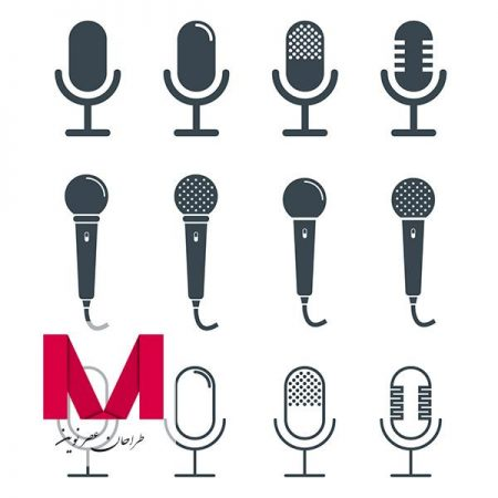 Microphones design collection Free Vector www.Modernera.ir  450x450 - وکتور میکروفون