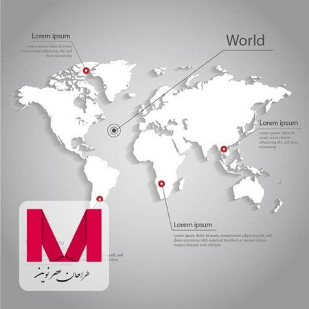 White world map infographic www.Modernera.ir  450x450 - وکتور نقشه کره زمین