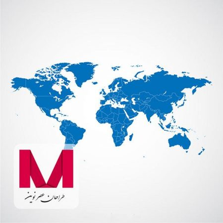 World map blue template www.Modernera.ir  450x450 - وکتور نقشه جهان آبی