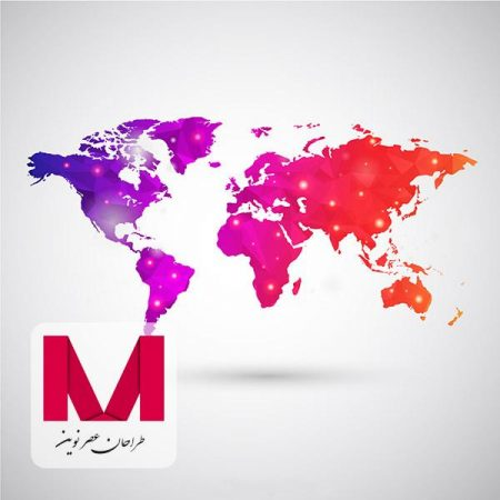 World map in polygonal style www.Modernera.ir  450x450 - وکتور نقشه جهان رنگارنگ