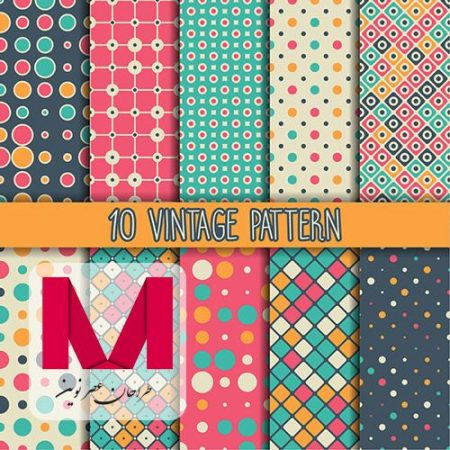 Ten vintage patterns www.Modernera.ir  450x450 - وکتور 10 پترن فانتزی
