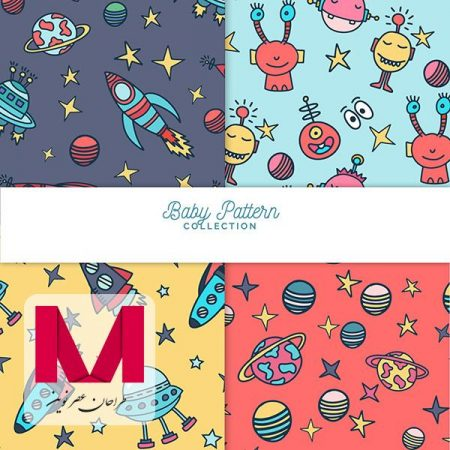 Baby patterns collection with cute elements www.Modernera.ir  450x450 - وکتور مجموعه پترن کودک با عناصر زیبا