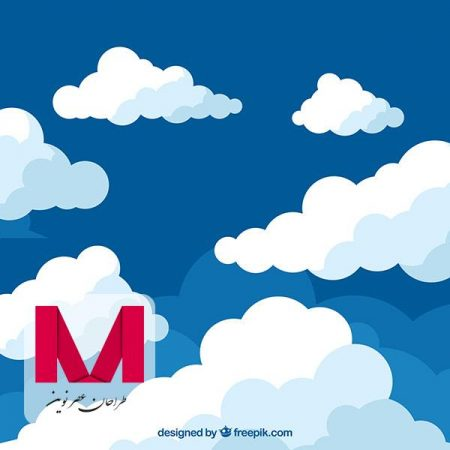 Clouds background in flat design www.Modernera.ir  450x450 - وکتور پس زمینه ابری