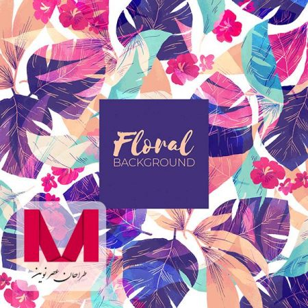 Colorful floral background in watercolor style www.Modernera.ir  450x450 - وکتور پس زمینه گل رنگارنگ در سبک آبرنگ