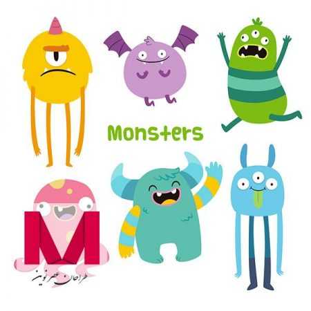 Funny monsters collection in hand drawn style www.Modernera.ir  450x450 - وکتور کاراکتر هیولاهای بامزه