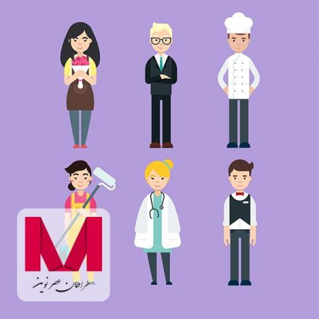 Set of happy people with different jobs in flat style www.Modernera.ir  450x450 - وکتور کاراکتر های شاغل فلت