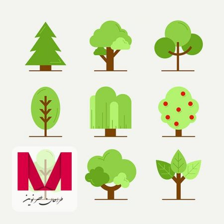 Trees collection in flat style www.Modernera.ir  450x450 - وکتور مجموعه درختان فلت