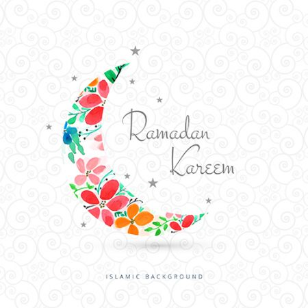 Ramadan kareem greeting card with moon design www.Modernera 450x450 - وکتور ماه رمضان کریم