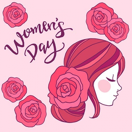 Womans day design with side view of face www.Modernera 450x450 - وکتور روز زن و دختر